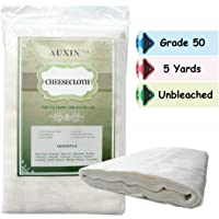AUXIN™,Cheesecloth 【Grade 50】【45 Sq Feet/5 Yards】,100% Natural Cotton Natural Reusable Cheese Cloths for Milk Strainer…