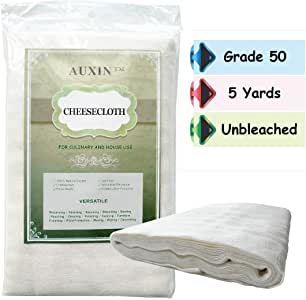 AUXIN™,Cheesecloth 【Grade 50】【45 Sq Feet/5 Yards】,100% Organic Cotton Natural Reusable Cheese Cloths for Milk Strainer/Kombucha/Iced Coffee/Wine Making,Unbleached Cooking Muslin (1 Pack)