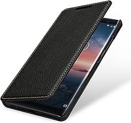StilGut Book Type Housse en Cuir pour Nokia 8 Sirocco. Étui de Protection Nokia 8 Sirocco en Cuir véritable à Ouverture latérale, Noir