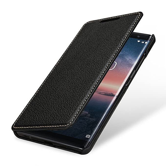 on sale 4cb50 27268 StilGut Nokia 8 Sirocco Case. Leather Book Type Flip Cover for Nokia 8  Sirocco, Folio Case, Black