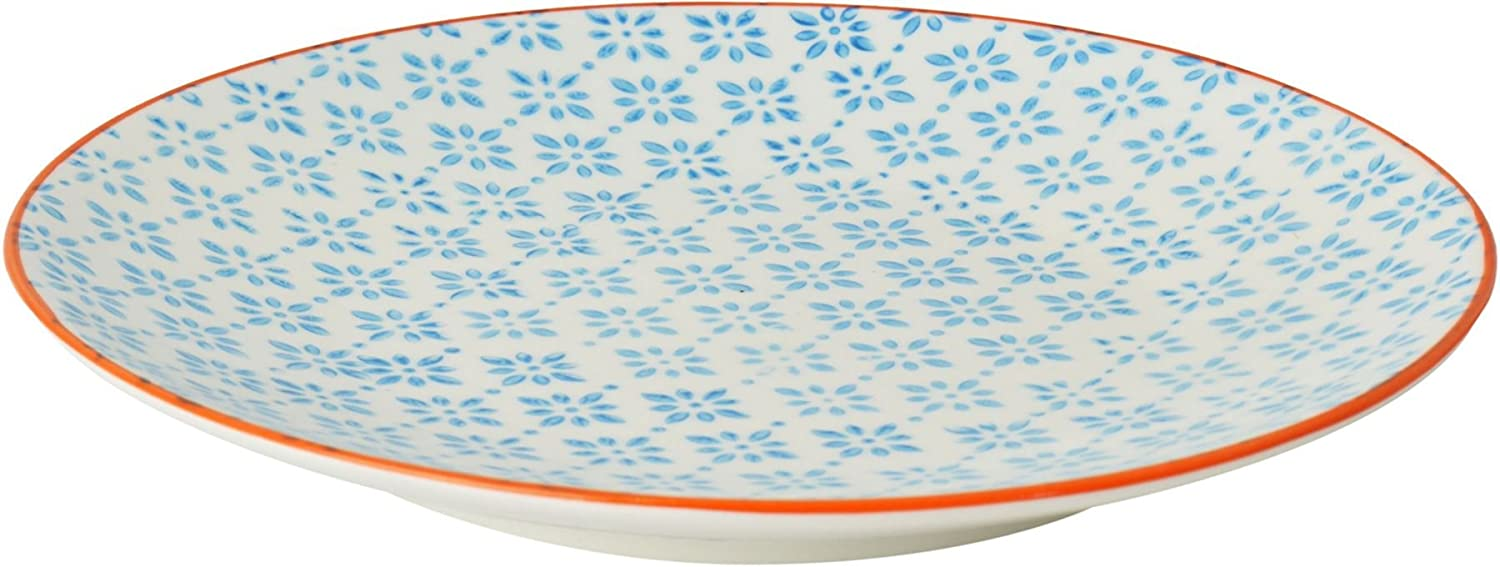 Nicola Spring Patterned Side / Dessert Plate - 180mm (7 Inches) - Blue / Orange Print Design