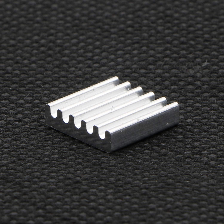 W 100 Pack L x 12mm x 3mm JIUWU Silver Tone Cooling Module Small Aluminum Heatsink Amplifier Heat Sink Conductivity Cooler Fin for IC Transistor Semiconductor 12mm H
