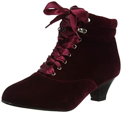 13539cd54d9 Joe Browns Womens Vintage Style Velvet Ankle Boots Red A 10