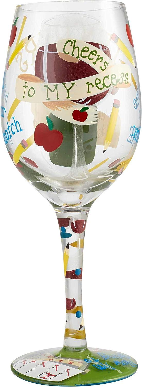 Enesco 6004356 Designs by Lolita Teachers Recess Artisan Wine Glass 15 oz Multicolor