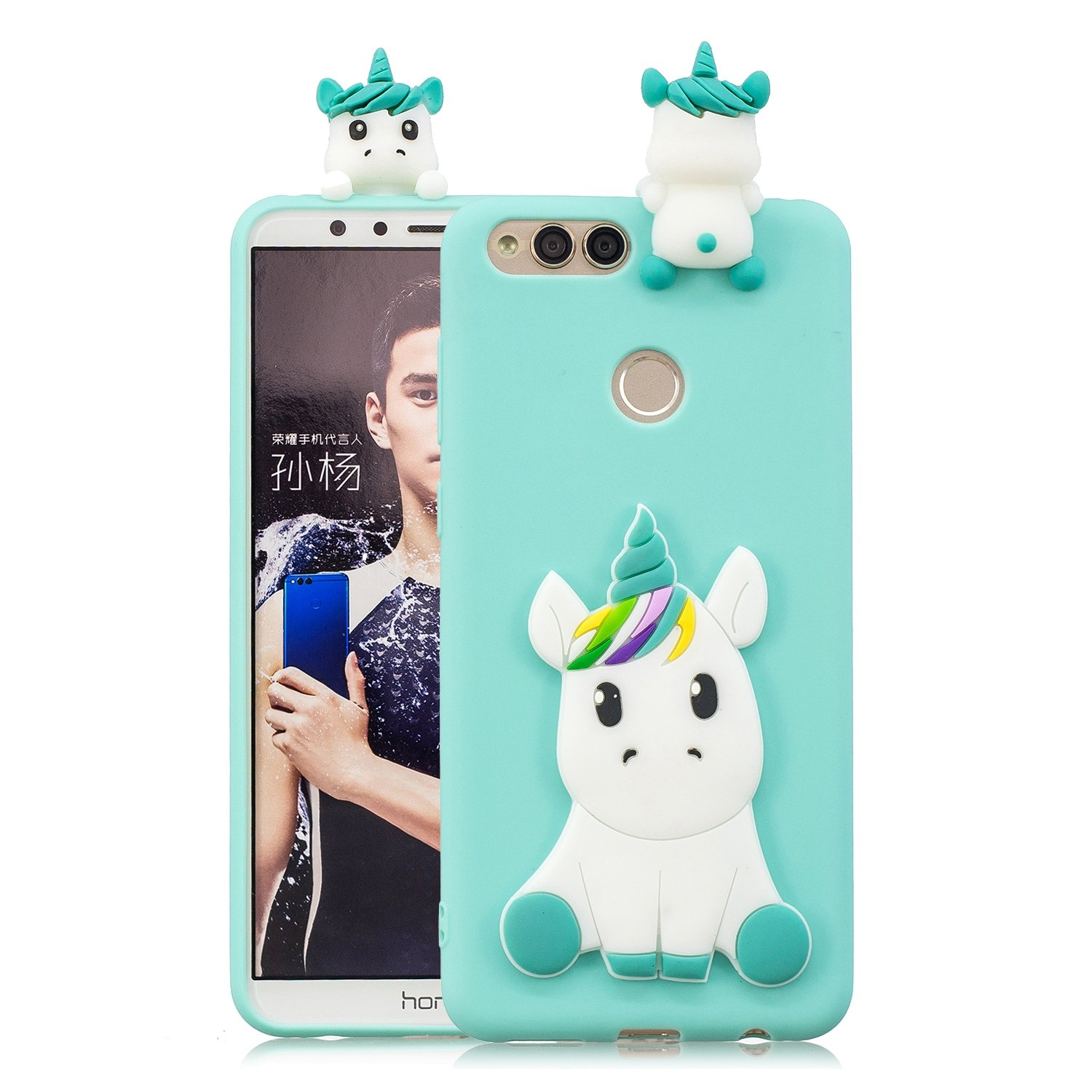 DAMONDY Huawei Mate SE case, Huawei Honor 7X case, 3D Cute Unicorn Cartoon Soft Gel Silicone Design Rubber Skin Thin Protective Cover Phone Case for Huawei Mate SE/Huawei Honor 7X-Black