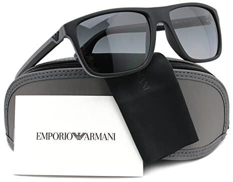 6e97f45e27 Amazon.com  Emporio Armani EA4033 Polarized Sunglasses Matte Grey w Crystal  Grey (5229 T3) EA 4033 5229T3 56mm Authentic  Clothing