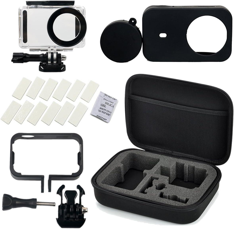 Flycoo Conjunto de 5 accesorios para cámara Xiaomi Mijia-Estuche impermeable, marco, funda de silicona, banda antivaho y caja de almacenaje para cámara de acción Mijia 4K.