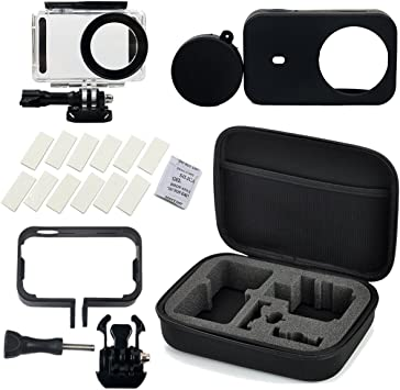 Flycoo Conjunto de 5 accesorios para cámara Xiaomi Mijia-Estuche impermeable, marco, funda de silicona, banda antivaho y caja de almacenaje para cámara de acción Mijia 4 K., color negro: Amazon.es: Deportes y