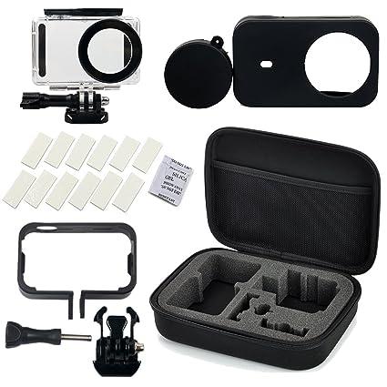 Flycoo Conjunto de 5 accesorios para cámara Xiaomi Mijia-Estuche impermeable, marco, funda de silicona, banda antivaho y caja de almacenaje para ...