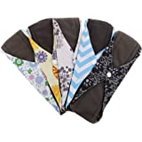 MagiDeal Reusable Cloth Menstrual Pads 5 PCS Charcoal Bamboo Sanitary Pads Panty Liners 10inch (M, Mixed Prints) - 41-45#, 10x7.3 inch