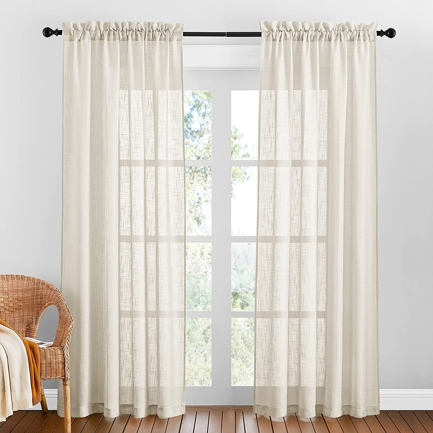 """PONY DANCE Voile Curtains for Bedroom - Thick Faux Linen Window Sheers Slot Top Semi Transparent Sheer Panels for Living Room, Pack-2, 52 inch Wide x 84 inch Long, Beige Cream 2x W52"""" X L84"""" Slot Top 