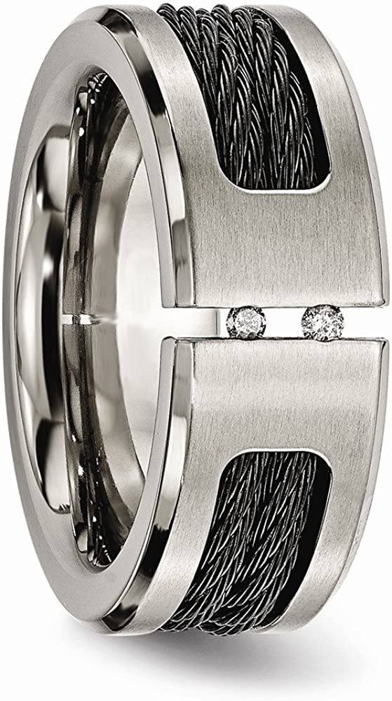 Bridal Wedding Bands Fancy Bands Titanium Black IP-plated Cable and Diamonds Polished//Brushed Band Size 8
