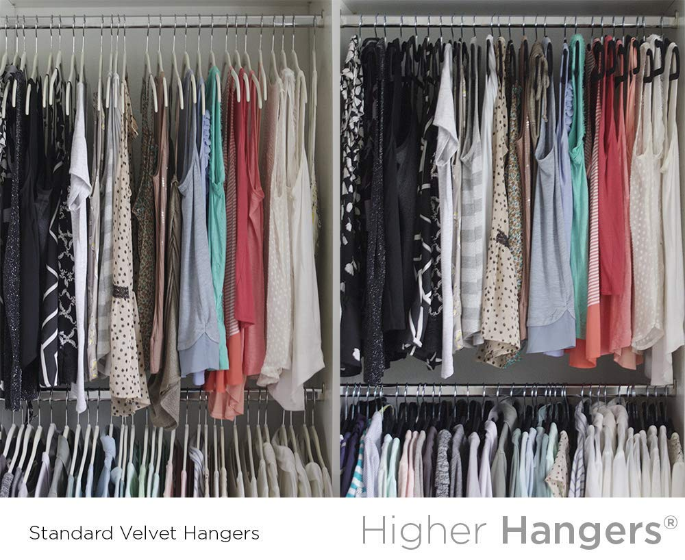 Higher Hangers Space Saving Clothes Hangers Slimline Heavy Duty Black Plastic 40-Pack by Higher Hangers (Image #2)
