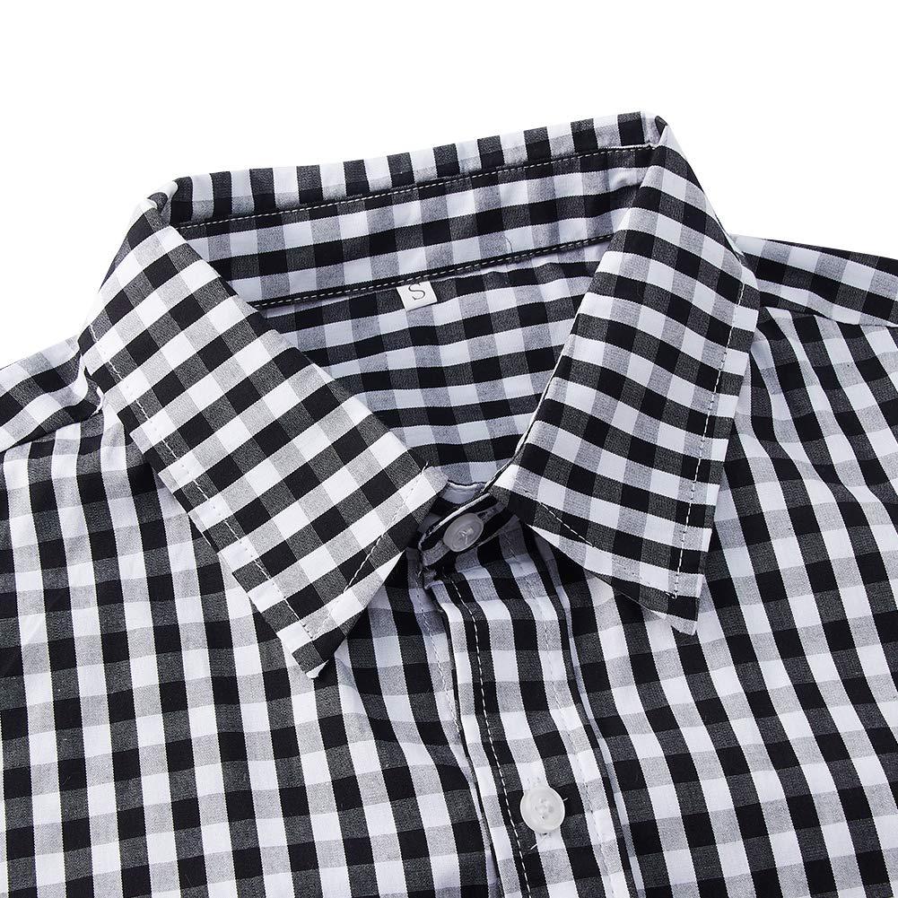 RAISEVERN Negro Chequeado Manga Larga Camiseta para Hombre de Oktoberfest Trajes
