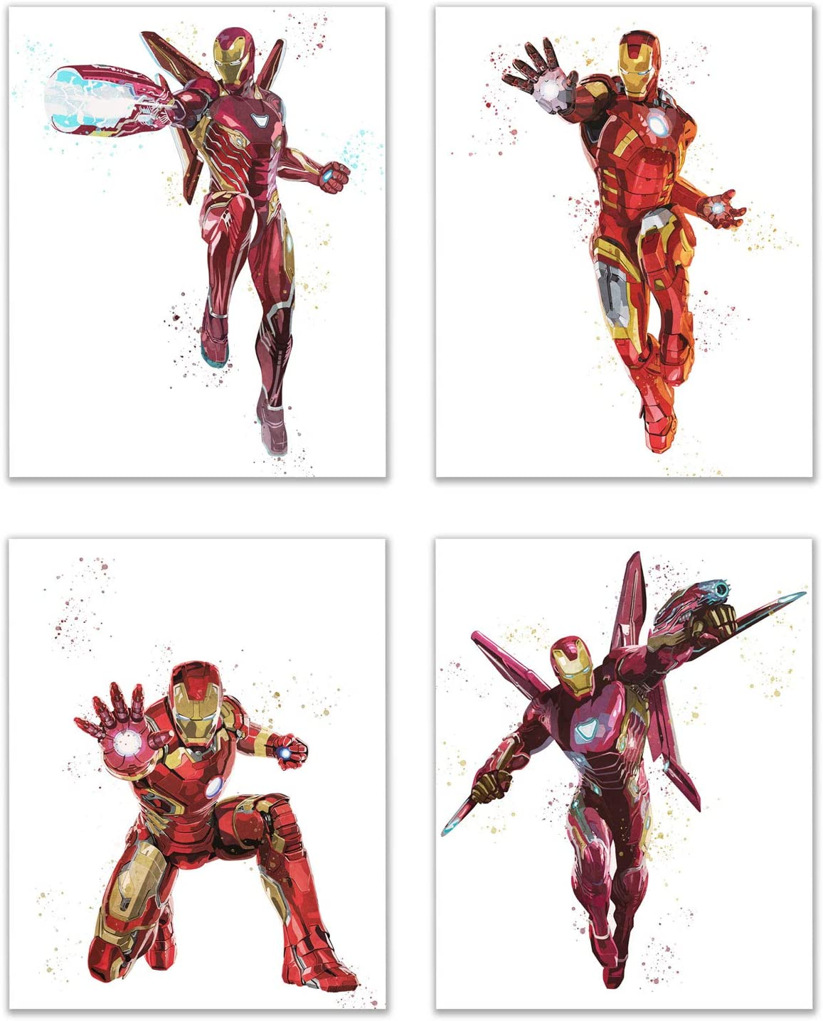 Iron Man Watercolor Poster Prints - Set of 4 (8x10) Infinity War Superhero Wall Art Decor