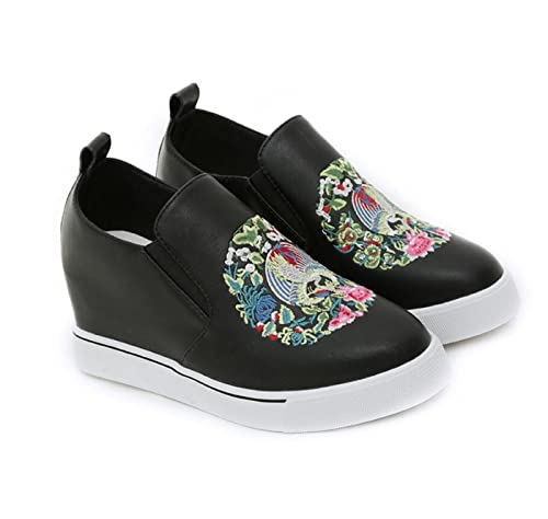 Zapatos de Mujer Zapatos de Cuña Ocultos Chicas Sandalias de Plataforma Mocasines Casual Estilo étnico Bordado
