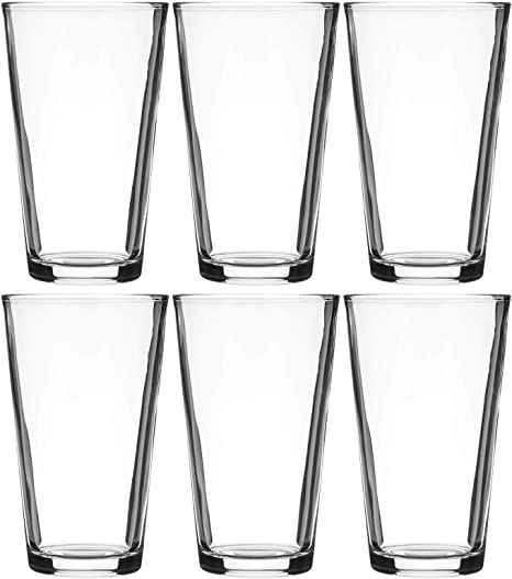 Amazon Com Modvera Drinkware Beer Pint Glass 16 Ounce Versatile Cocktail Shaker Beer Glass Perfect For The Pub Home Bar Or Everyday Use Ultra Clear Strong Rim Tempered Mixing