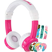 Kids Headphones By Onanoff - Model Inflight, Safe Volume Limited To 75, 85 Or 94 Db,Durable & Comfortable, Built In Headphone Splitter And In Line Mic,Perfect For Airplane Use, Pink, Bp-If-Pink-01-K