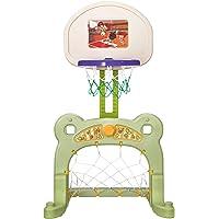 HOMCOM 2 in 1 Fußball Basketball Fußball Basketballkorb Kinder Spielzeug Ball Grün L61 x B53 x H99 cm