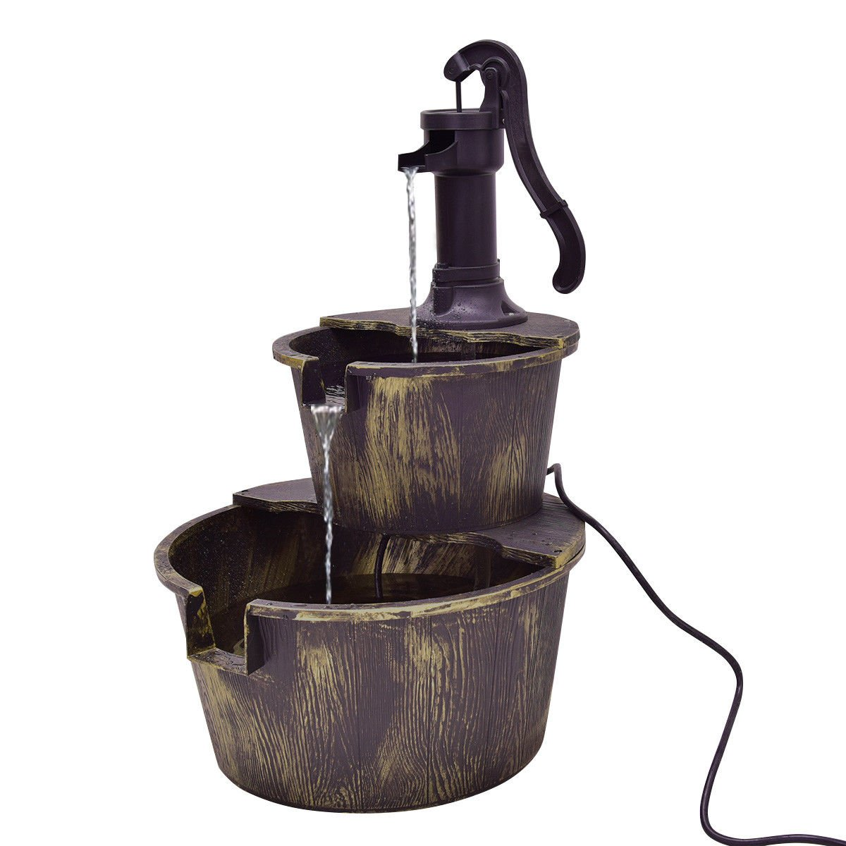 Waterfall Fountain 3 Tier Barrel Pump Outdoor Garden Imitating Bronze Color