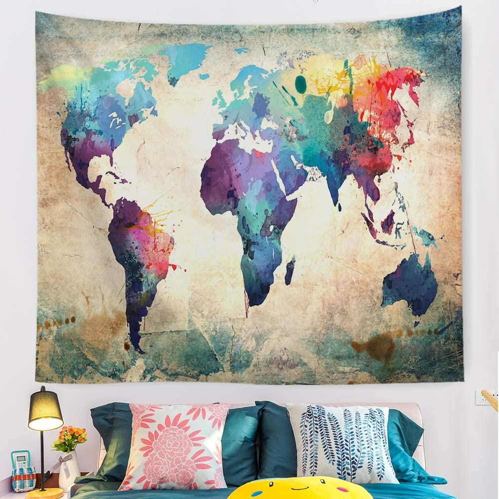 gaosoul World Map Tapestry Watercolor Abstract Map Retro Nostalgia Colorful World Map Tapestry Wall Hanging Art for Home Headboard Bedroom Living Room Dorm Decor in 60x52 Inches