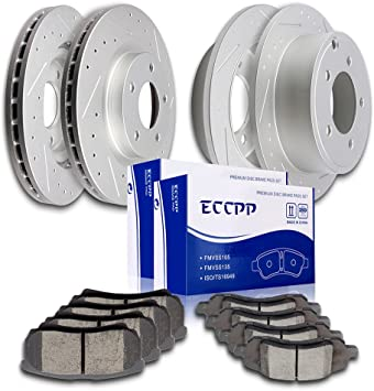 OE Replacement Rotors w//Ceramic Pads R See Desc. 2009 2010 Fit Jeep Patriot