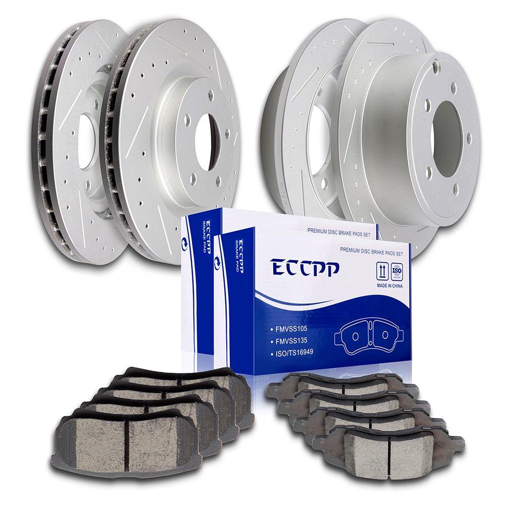 ECCPP 4pcs Front Rear Discs Brake Rotors and 8pcs Ceramic Disc Brake Pads fit for 2011-2014 Chrysler 200,2008-2010 Chrysler Sebring,Jeep Compass/Patriot,2008 Dodge Caliber