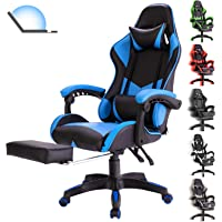 Gaming Chair Office Chair with Massage Lumbar Support, Racing Style PU Leather High Back Adjustable Swivel Task Chair…