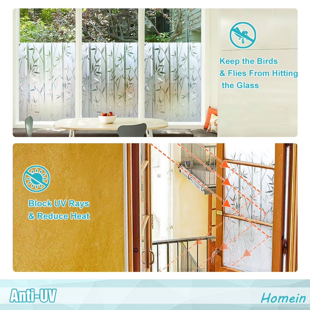 Amazon.com: Homein Frosted Window Film for Glass Privacy Decorative Film  Removable Bamboo Film UV Blocking Heat Control,35.4In. By 78.7In. (90 x  200Cm): ...