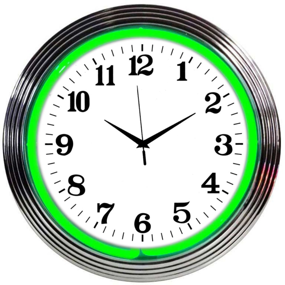Neonetics Bar and Game Room Neon Alphanumeric Wall Clock with Green Neon and Chrome Rim, 15-Inch