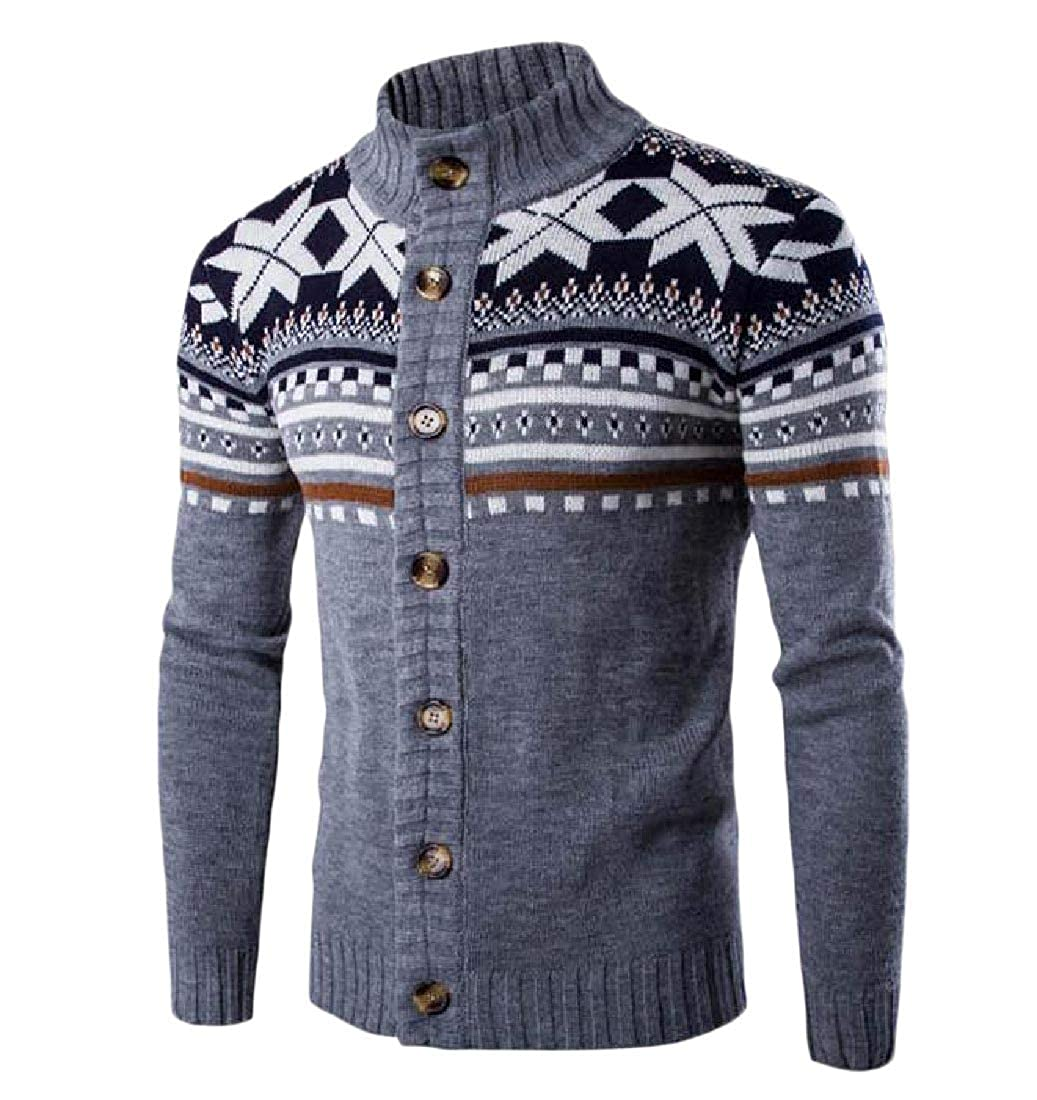 c37eefdbc44f Grey Grey Grey ROHEP Mens Fall Winter Relaxed Long Sleeve Floral Print  Cardigan Sweater 6afeed