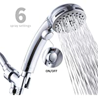 High Pressure 6 Setting Handheld Shower Head with ON/OFF Switch and Spa Spray Mode - Shower Heads with Handheld Spray - Hand Held Shower Head with Hose - Chrome