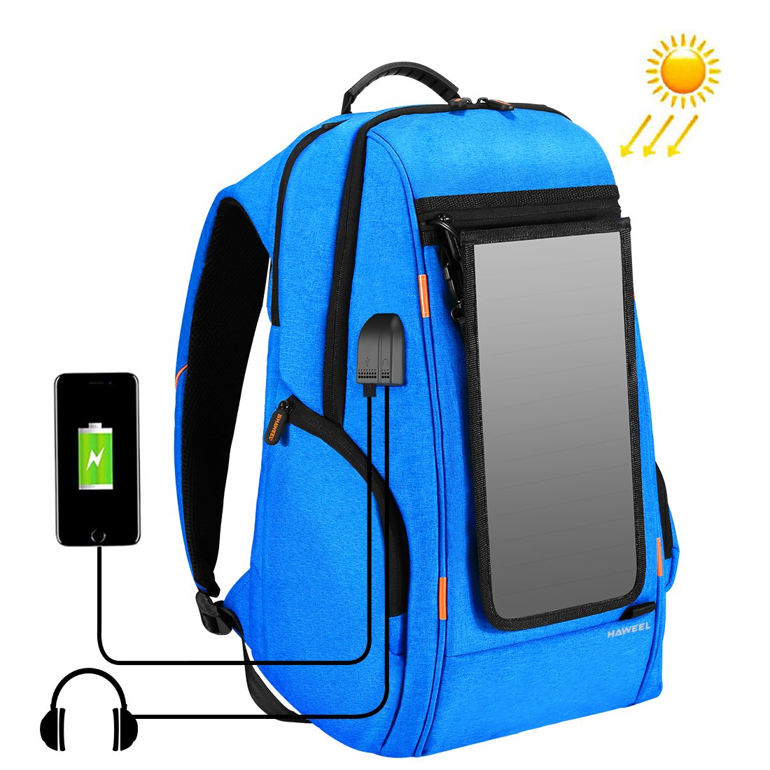 HAWEEL Outdoor Multi-function Solar Panel Power Breathable Casual Backpack Laptop Bag School Bookbag for College Travel Backpack, With USB Charging Port & Earphone Port (Blue with Solar Panel)
