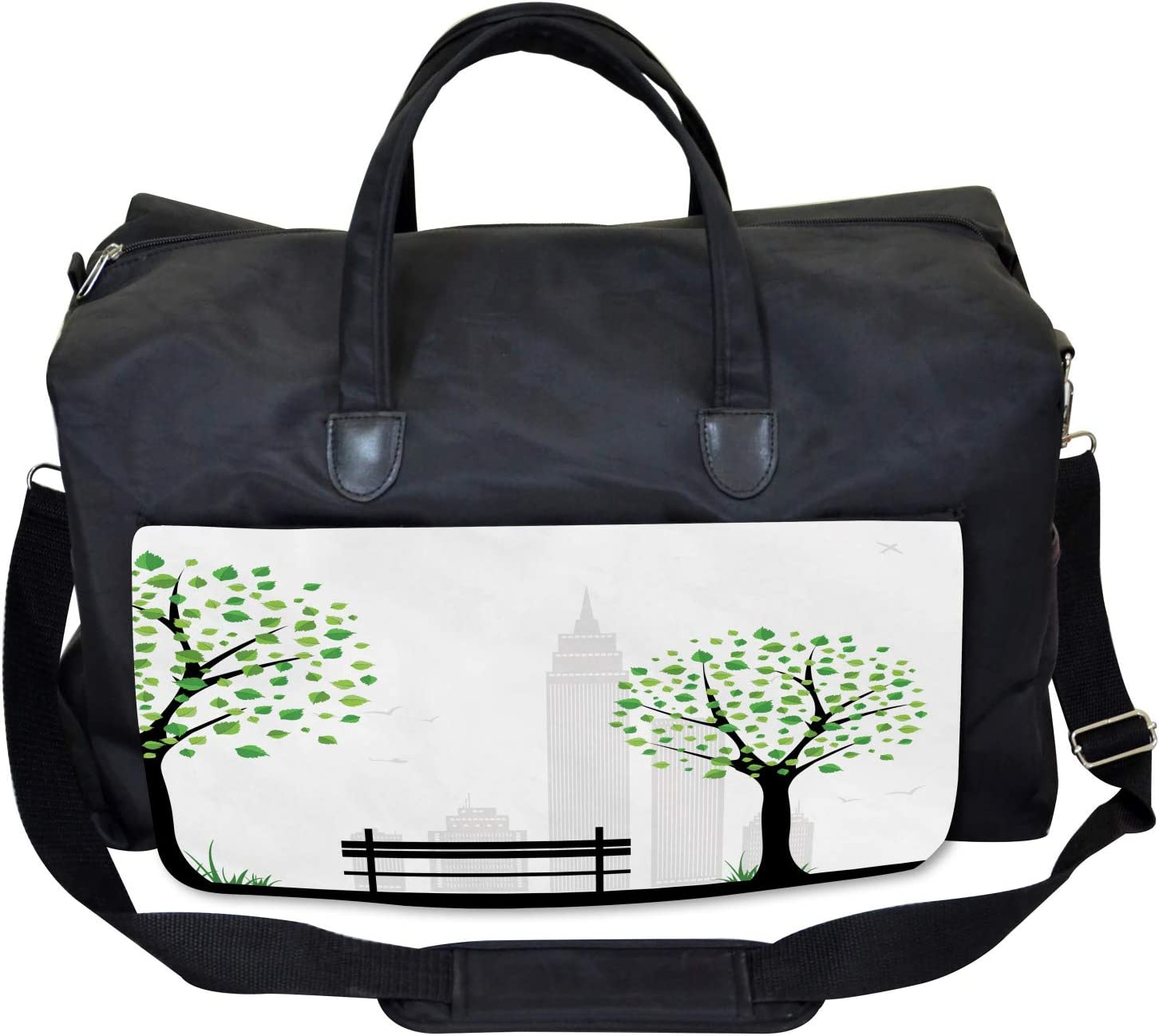 Large Weekender Carry-on Ambesonne Tree Gym Bag Urban and Rural Harmony