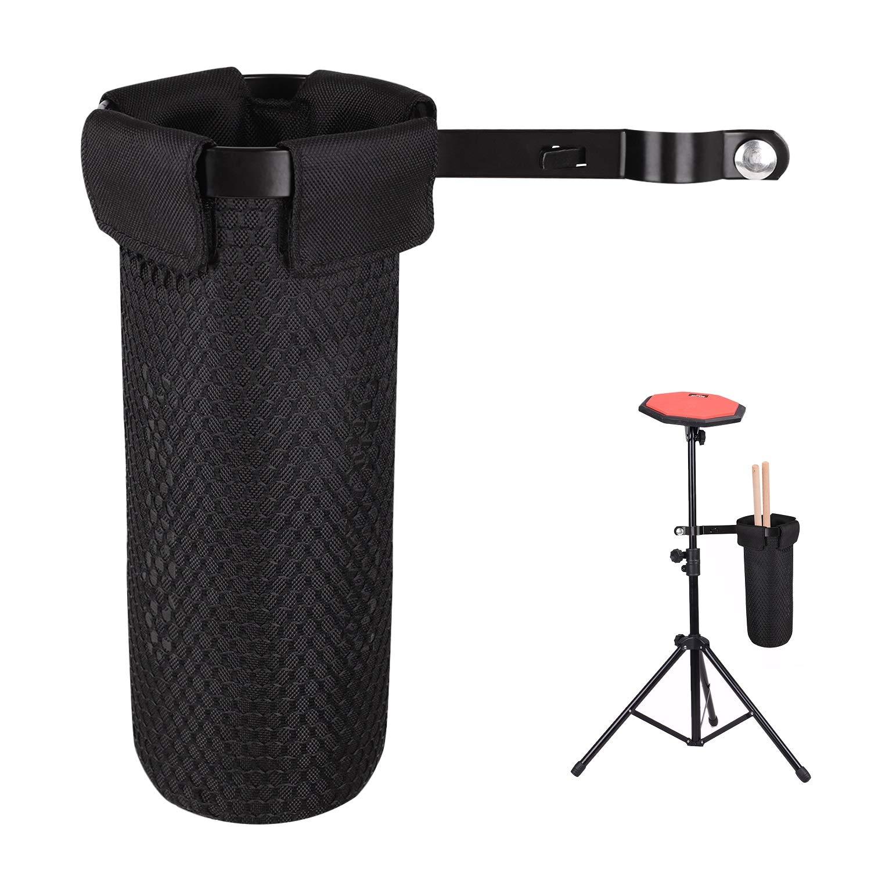 protecci/ón color negro Soporte de bolsa para palillos de bater/ía tubo para palillos de tambor con pinza de aluminio funda para palillos de tela Oxford impermeable