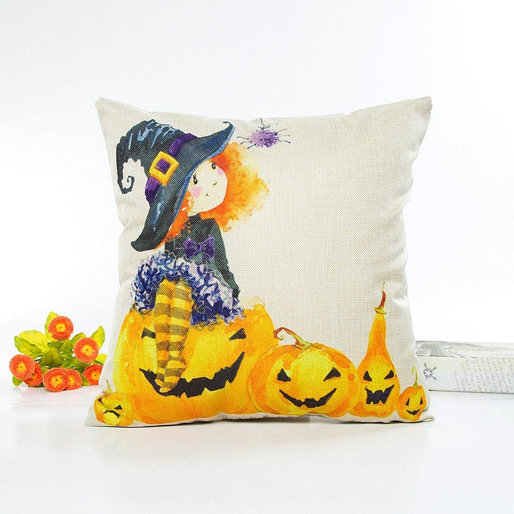 Landfox Kissenbezug Happy Halloween Kissenbezüge Leinen Druck Sofa