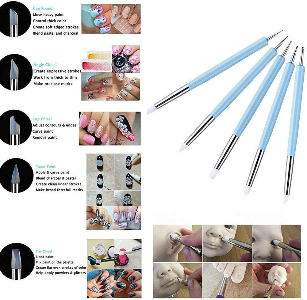 Chanhan 5 Pcs Silicone Clay Sculpting Tool Modeling Dotting Tool/& Pottery Craft Dotting Tool Set Use for DIY Handicraft for Embossing Pattern Clay Sculpting,Nail Art