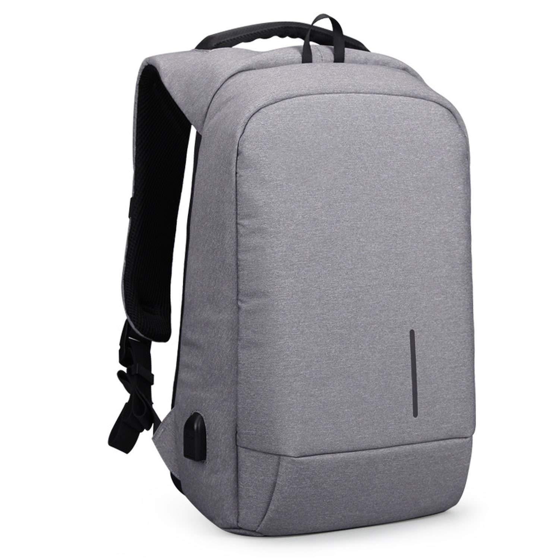 Jin Shengsi Shoulder Bag USB Charging Backpack For Computer Bag Can Beized,Light Grey,13.6 Inches