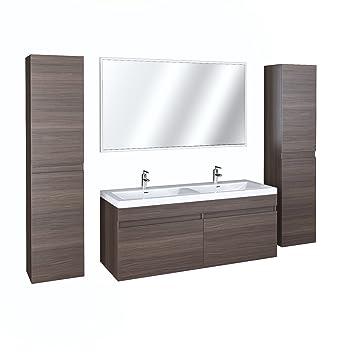 Badezimmermöbel Badmöbel Waschtisch 5 Teilig Spiegel Doppelwaschbecken
