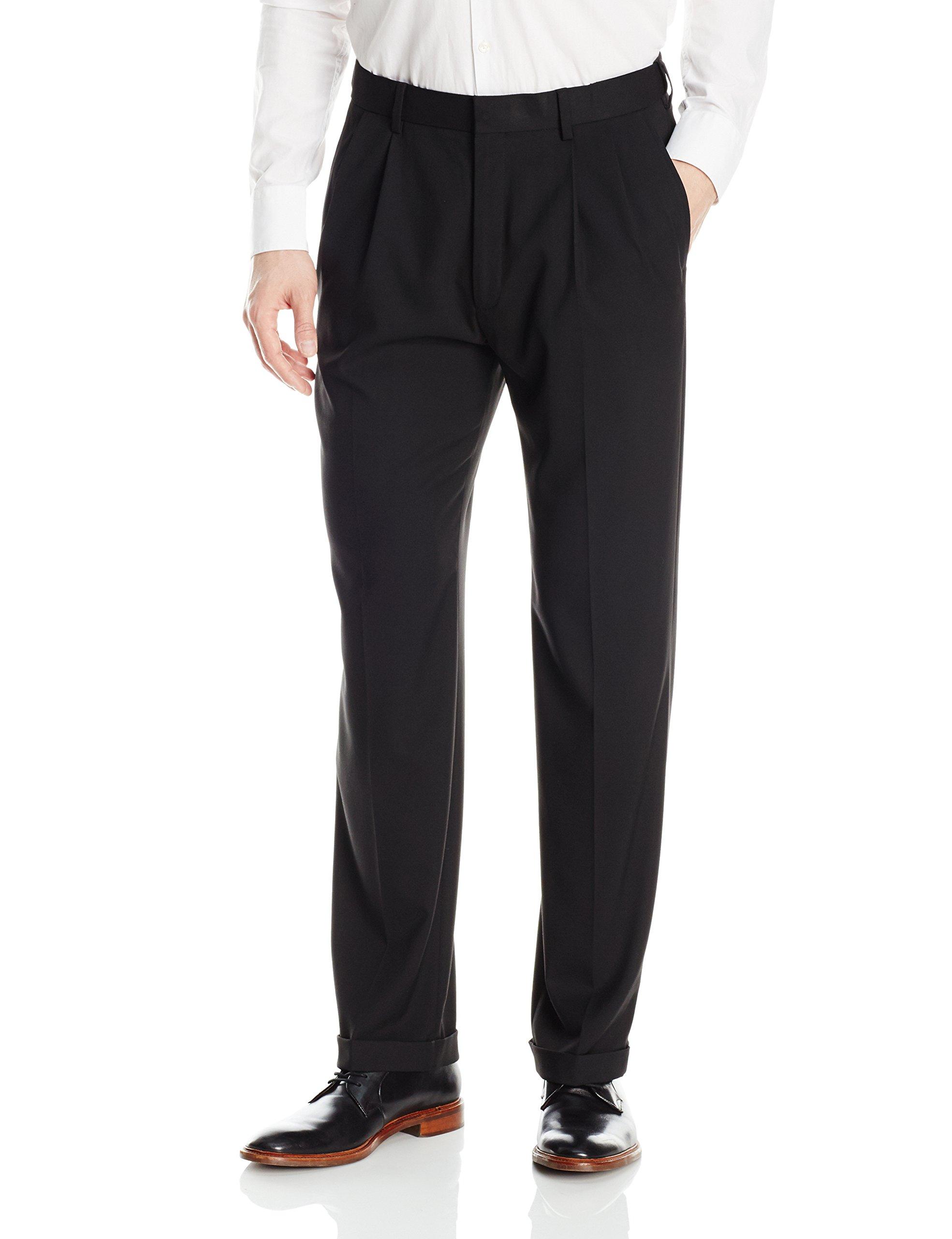 Haggar Men's J.m Premium Stretch Classic Fit Pleat Front Pant, Black, 42Wx30L by J.M. Haggar