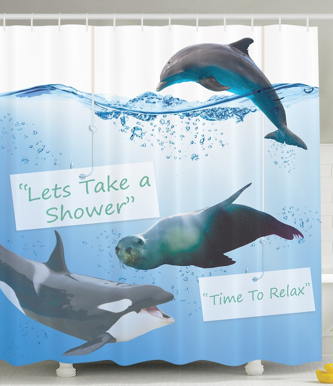 Funny Shower Curtain Whale Lets Take Shower Time to Relax Cute Fish ...