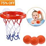 HEOATH Bath Toys, Fun Basketball Hoop & Balls Set for Little Boys & Girls | Bathtub Shooting Game for Kids & Toddlers | Suctions Cups That Stick to Any Flat Surface + 3 Balls Included