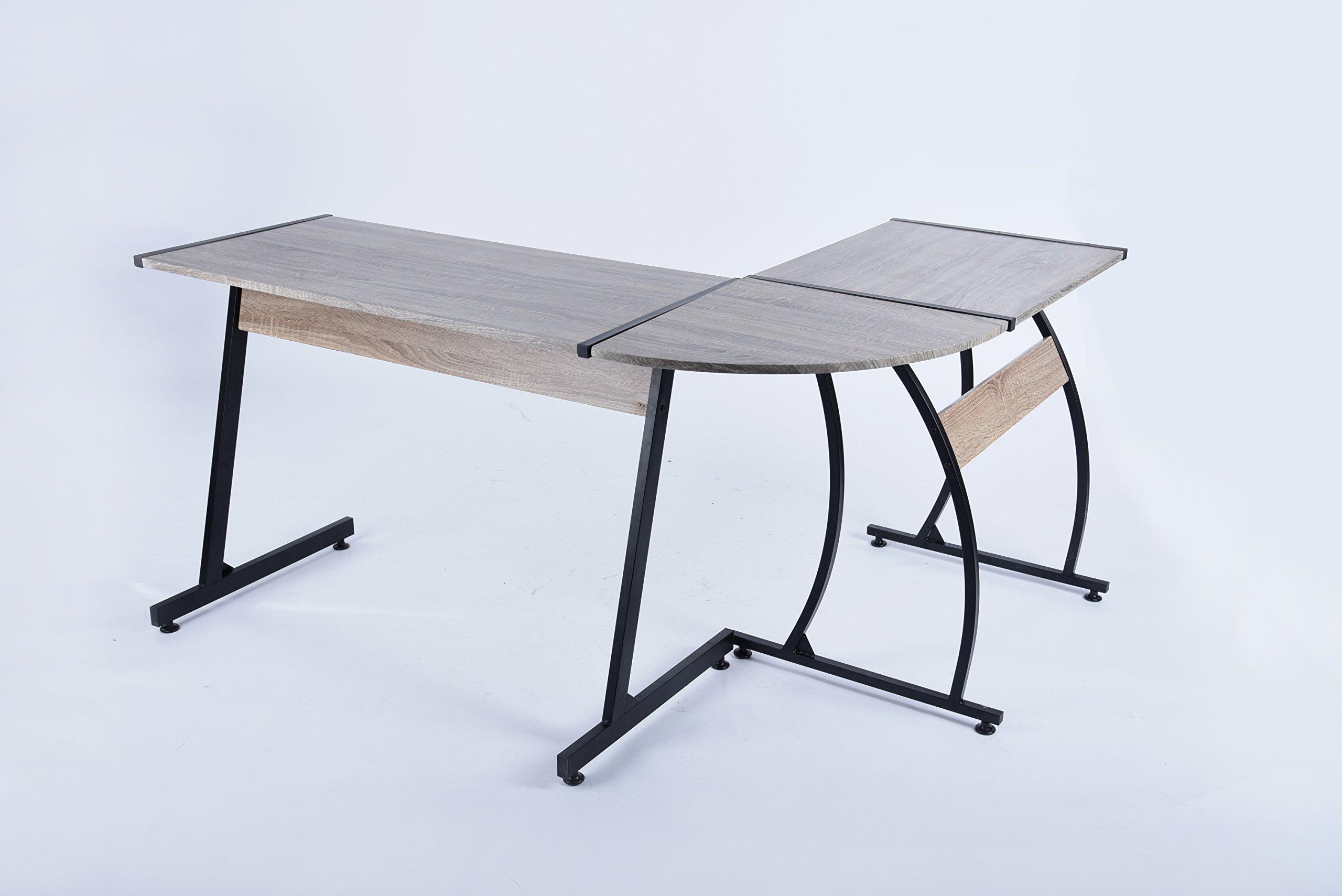 Weathered Dark Grey / Black Finish Metal Wood L-Shape Corner Computer Desk PC Laptop Table Workstation Home Office