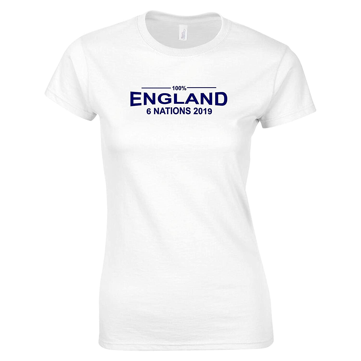 fa56a2e6fde 100% England Womens Rugby Six Nations 2019 T-Shirt Ladies White:  Amazon.co.uk: Clothing