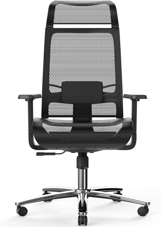 Bilkoh Mesh Office Chair, Ergonomic Office Chair, Breathable Mesh & Adjustable Lumbar Support, Headrest & 3D Armrest (Black)