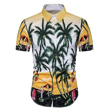 Yayu Mens Hawaii Slim Fit Short Sleeve Button Down Beach Shirts at ...