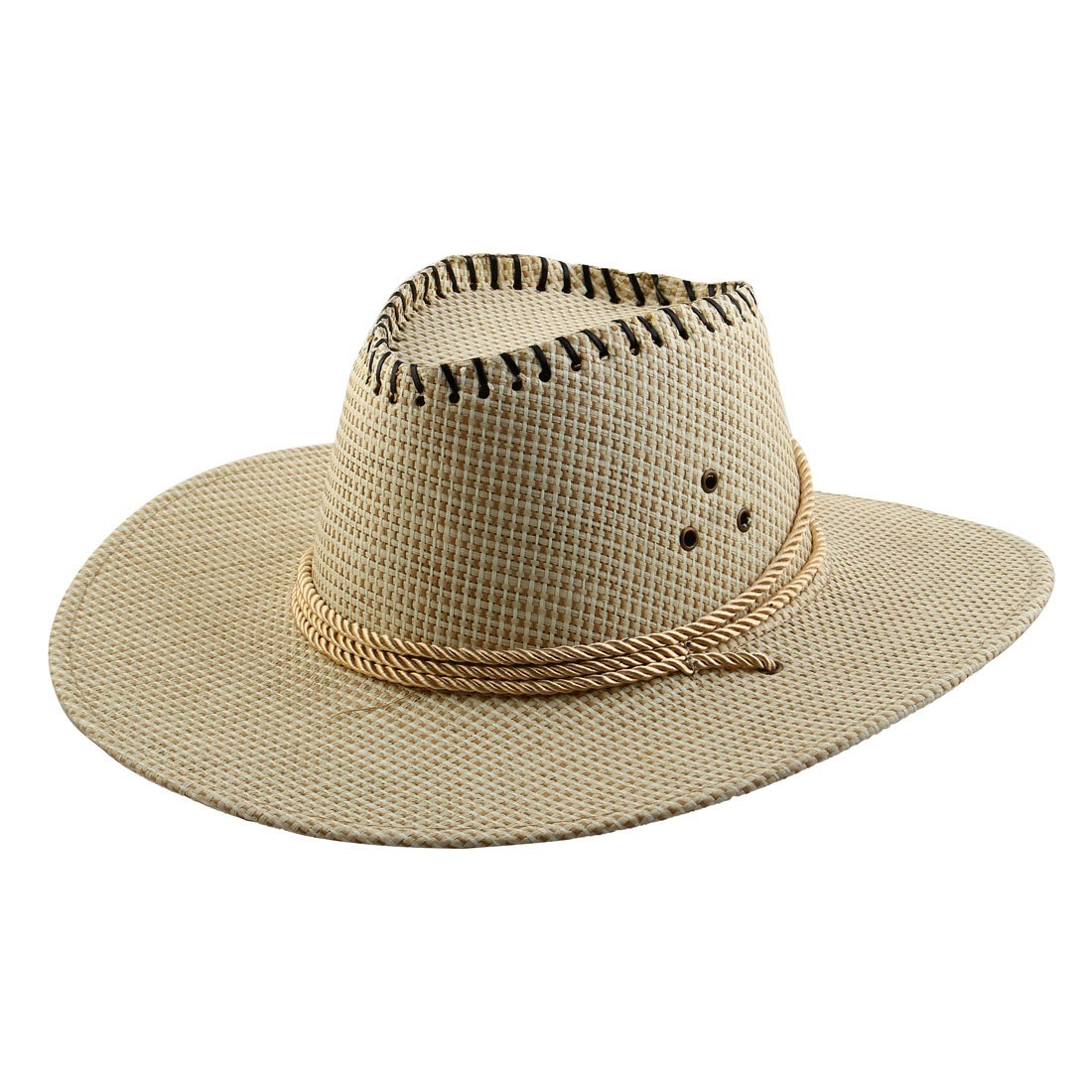 0ed1c2e3977 Amazon.com  uxcell Men Summer Outdoor Adjustable Strap Braided Wide Brim  Western Style Sunhat Cowboy Hat White  Toys   Games