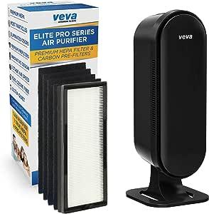 VEVA 8000 Elite Pro Series Filtro purificador de aire HEPA y 4 filtros de carbón activado prémium para eliminar alérgenos, humo, polvo, caspa y olor completo Torre de limpieza de aire para