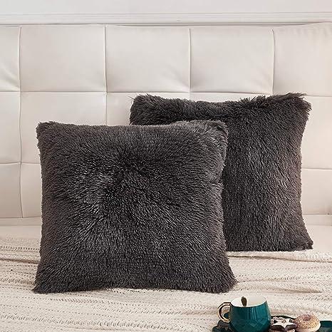 Black, 18x18 LIFEREVO 2 Pack Shaggy Plush Faux Fur Decorative Throw Pillow Cover Velvety Soft Cushion Case