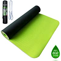 Premium TPE Yoga Mat green 8mm (size 183cm x 61cm) with carrying bag, Anti-slip double layer Eco friendly 100% latex…